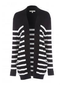 Womens Black Stripe Cardigan