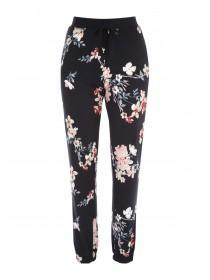 Womens Black Floral Print Pyjama Trousers