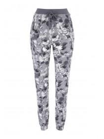 Womens Grey Floral Print Lounge Trousers