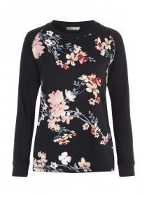 Womens Black Floral Lounge Top