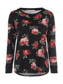 Womens Black Rose Print Lounge Top