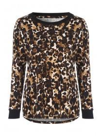 Womens Leopard Print Soft Touch Long Sleeved Top