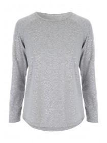 Womens Grey Long Sleeve Lounge Top
