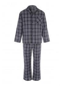 Mens Blue Checked Pyjama Shirt & Bottoms Set