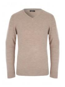 Mens Beige V Neck Jumper