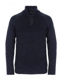 Mens Dark Blue Funnel Neck Jumper