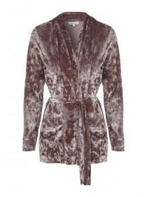 Womens Velvet Belted Jacket