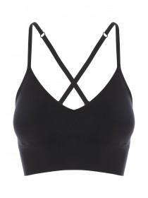 Womens Black Seam Free Cross Back Bra