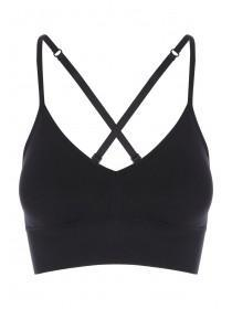 Womens Black Longline Seamfree Cross back Crop Top