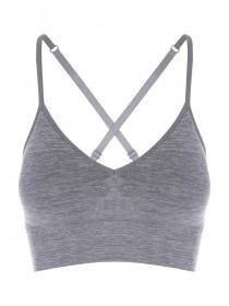 Womens Grey Longline Seamfree Cross back Crop Top
