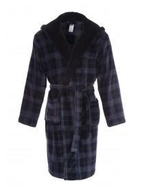 Mens Dark Blue Check Dressing Gown