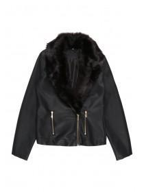 Older Girls Black PU Fur Collar Jacket