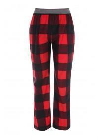 Mens Red Fleece Check Pyjama Trousers