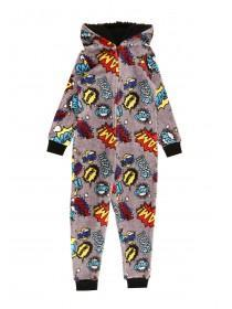 Boys Grey Comic Onesie
