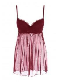 Womens Burgundy Lace Babydoll