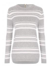 Womens Grey Stripe Jumper