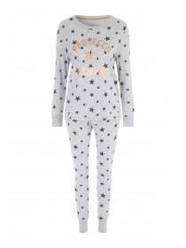 Womens Grey Star Pyjama Set