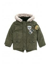 Younger Boys Khaki Badge Parka Coat