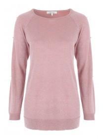 Womens Pink Split Sleeve Jumper