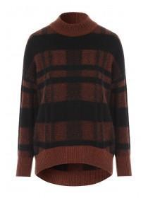 Womens Orange Check Dip Back Jumper