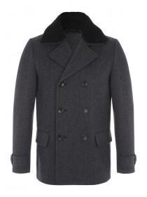 Mens Charcoal Herringbone Coat
