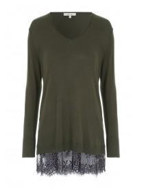 Womens Khaki Lace Hem Jumper