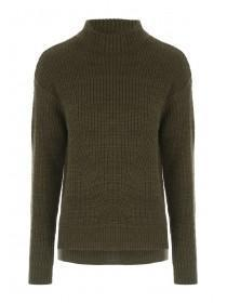 Womens Khaki Funnel Neck Rib Jumper