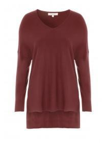 Womens Rust Oversized V Neck Jumper