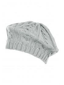 Womens Grey Cable Knit Beret