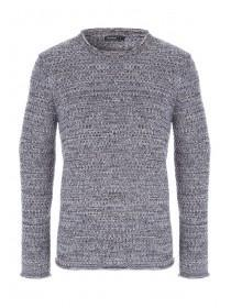 Mens Charcoal Textured Knit Jumper
