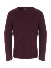 Mens Red Cable Knit Jumper