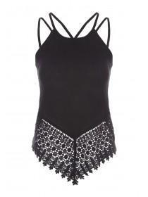 Jane Norman Black Strappy Crochet Detail Top