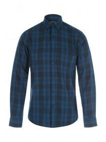 Mens Blue Long Sleeve Check Shirt