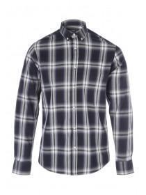 Mens Dark Blue Long Sleeve Check Shirt