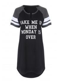 Womens Black T-Shirt Nightdress