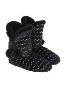 Womens Black Sequin and Fur Slipper Boot
