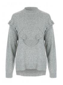 Womens Grey Oversized Frill Jumper