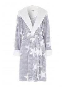 Womens Grey Star Print Dressing Gown