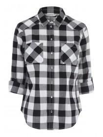 Womens Black Cotton Check Shirt