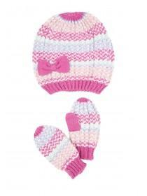 Younger Girls Pink 2pk Hat and Mitten Set