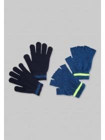 Older Boys Blue 2pk Gloves