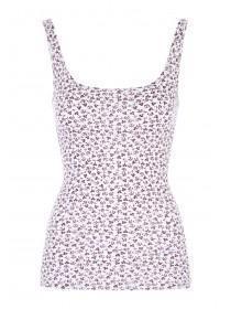 Womens White Ditsy Printed Vest