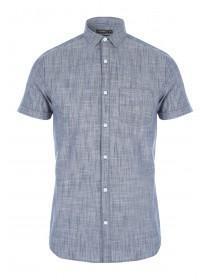 Mens Dark Blue Short Sleeve Slub Shirt