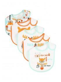 Baby Boys 5PK Orange Woodland Popover Bibs