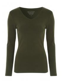 Womens Khaki Long Sleeve T-Shirt