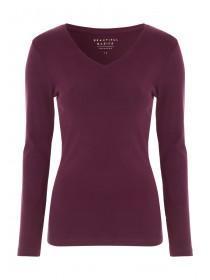Womens Burgundy Long Sleeve T-Shirt
