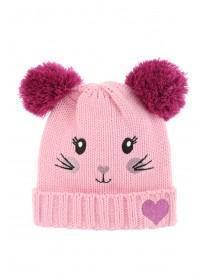 Younger Girls Pink Animal Pom Hat