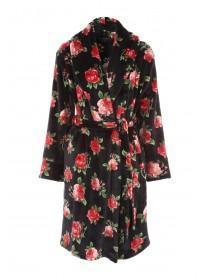 Womens Rose Printed Dressing Gown