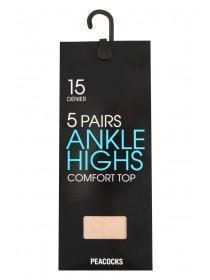 Womens 15 Denier Ankle High Tights 5pk