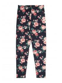 Younger Girls Dark Blue Floral Leggings